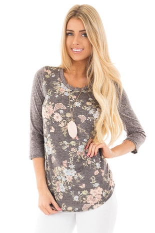 Charcoal Raglan Sleeve Top with Floral Detail front close up