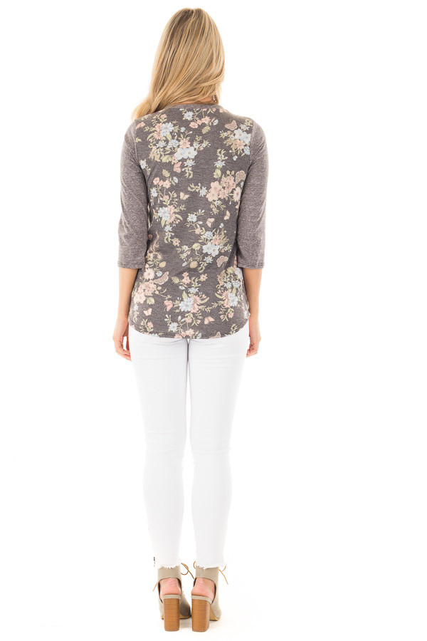 Charcoal Raglan Sleeve Top with Floral Detail back full body