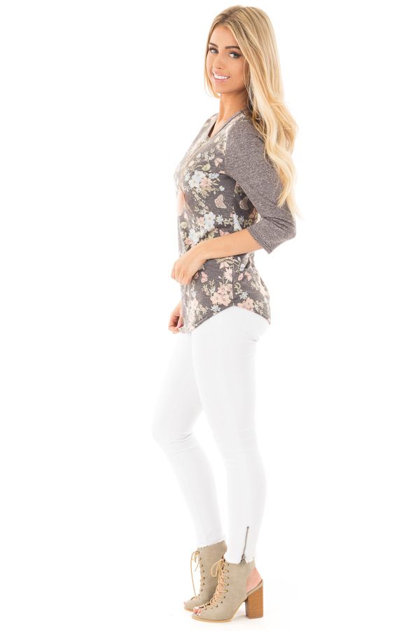 Charcoal Raglan Sleeve Top with Floral Detail side full body