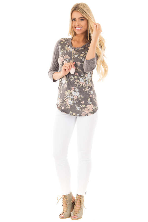 Charcoal Raglan Sleeve Top with Floral Detail front full body