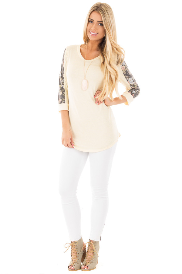 Banana 3/4 Sleeve Top with Charcoal Floral Detail front full body
