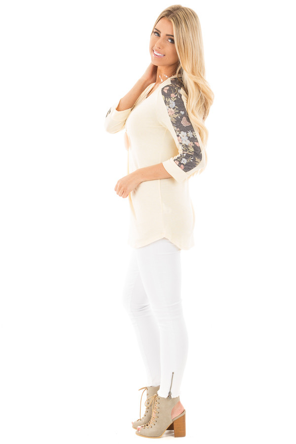 Banana 3/4 Sleeve Top with Charcoal Floral Detail side full body