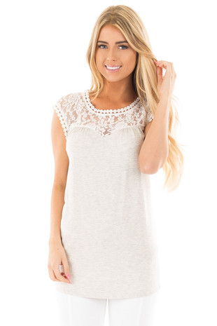 Heather Grey Sleeveless Tunic Top with Lace Yoke Detail front close up