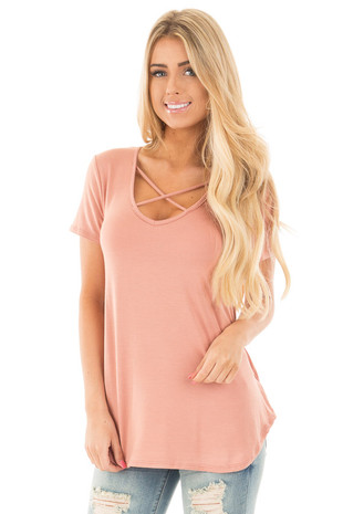 Salmon Short Sleeve Top with Criss Cross Detail front close up