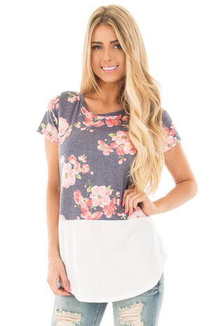 Navy Short Sleeve Top with Floral Print and Ivory Contrast front close up