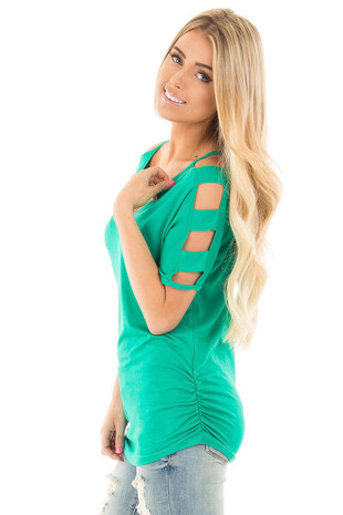 Emerald 3/4 Ladder Cut Out Sleeves with Ruched Sides side close up