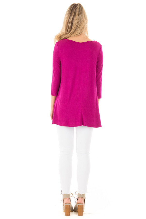 Magenta 3/4 Length Sleeves with Caged Neckline Detail Top back full body