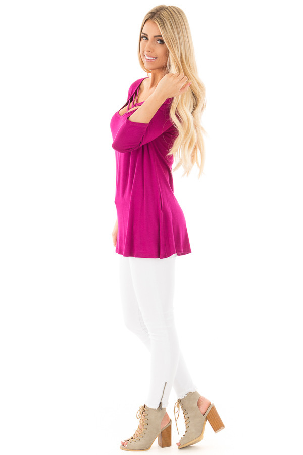 Magenta 3/4 Length Sleeves with Caged Neckline Detail Top side full body
