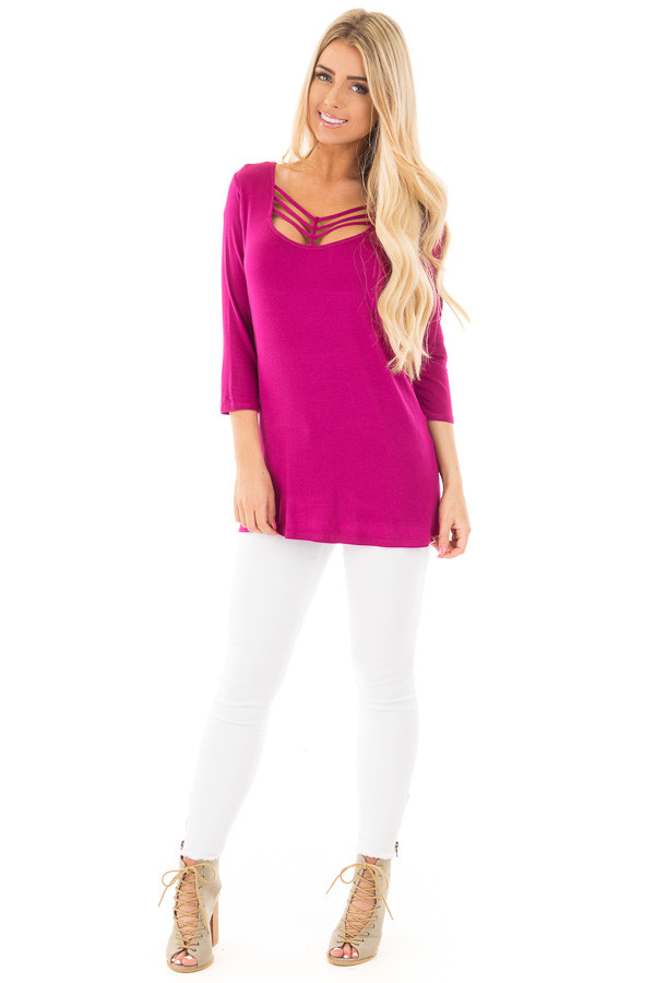 Magenta 3/4 Length Sleeves with Caged Neckline Detail Top front full body