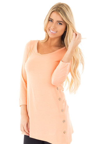 Peach Button Detail Asymmetrical Top front close up