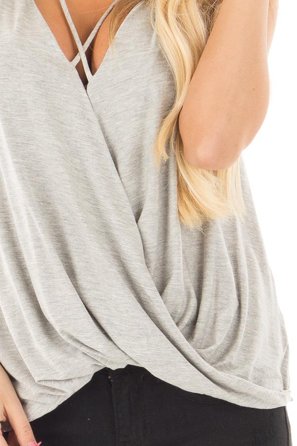Heather Grey Crossover Drape Tank with Criss Cross Neckline detail