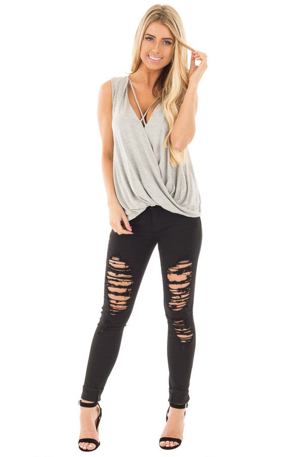 Heather Grey Crossover Drape Tank with Criss Cross Neckline front full body