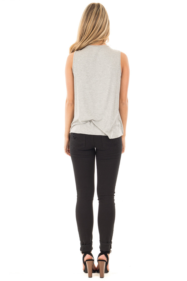 Heather Grey Crossover Drape Tank with Criss Cross Neckline back full body