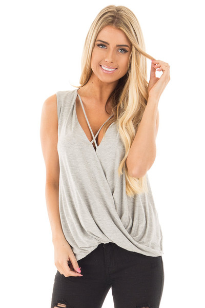 Heather Grey Crossover Drape Tank with Criss Cross Neckline front close up