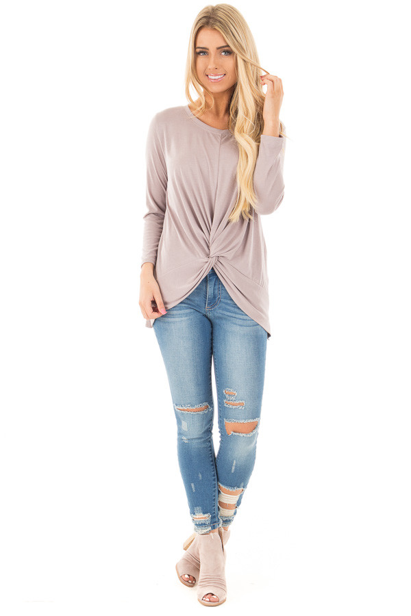 Dusty Violet Soft Knit Top with Front Twist Detail front full body