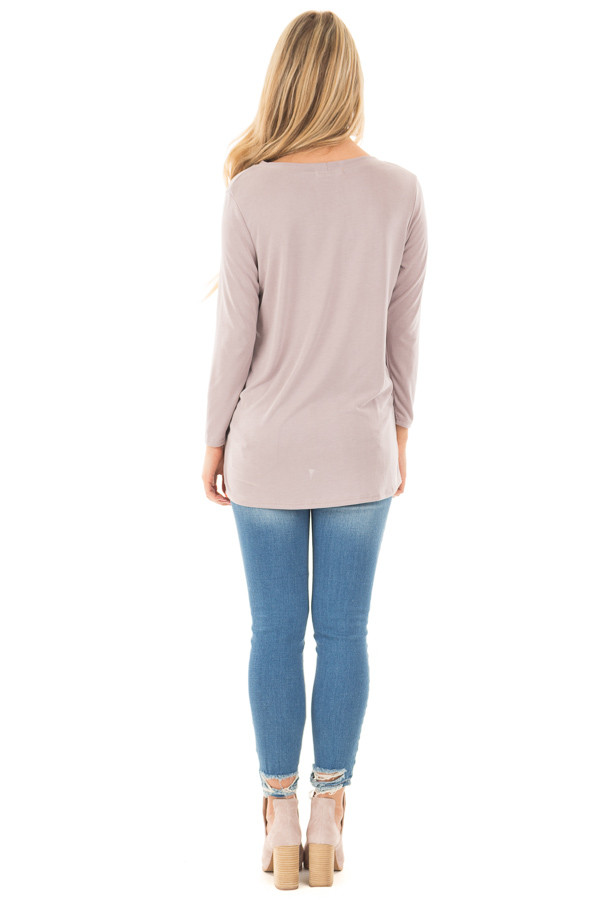 Dusty Violet Soft Knit Top with Front Twist Detail back full body