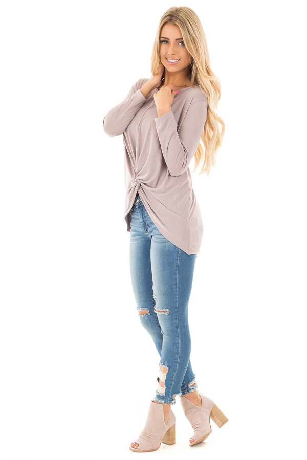 Dusty Violet Soft Knit Top with Front Twist Detail side full body