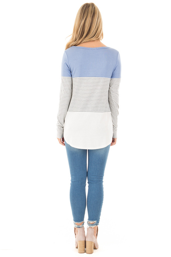 Blue and White Color Block Top with Grey Striped Sleeves back full body