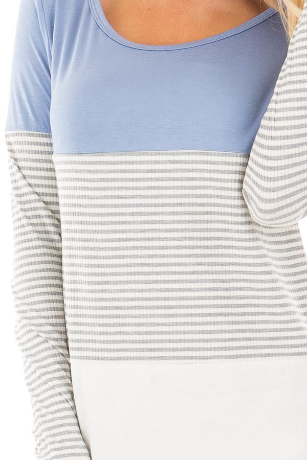 Blue and White Color Block Top with Grey Striped Sleeves detail