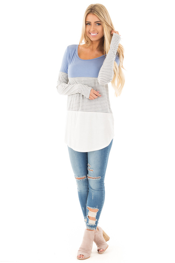 Blue and White Color Block Top with Grey Striped Sleeves front full body