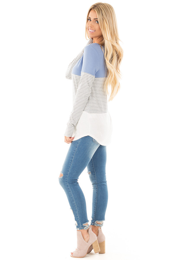 Blue and White Color Block Top with Grey Striped Sleeves side full body