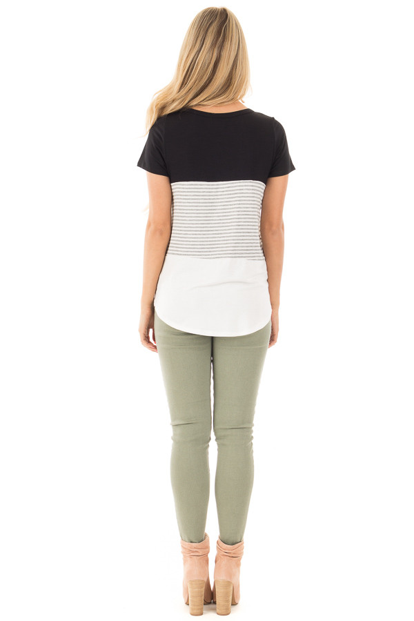 Black and White Color Block Top with Grey Striped Detail back full body