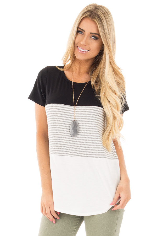 Black and White Color Block Top with Grey Striped Detail front close up
