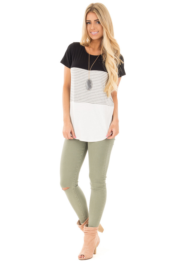Black and White Color Block Top with Grey Striped Detail front full body
