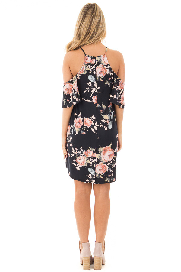 Black Soft Knit Cold Shoulder Dress with Blush Floral Print back full body