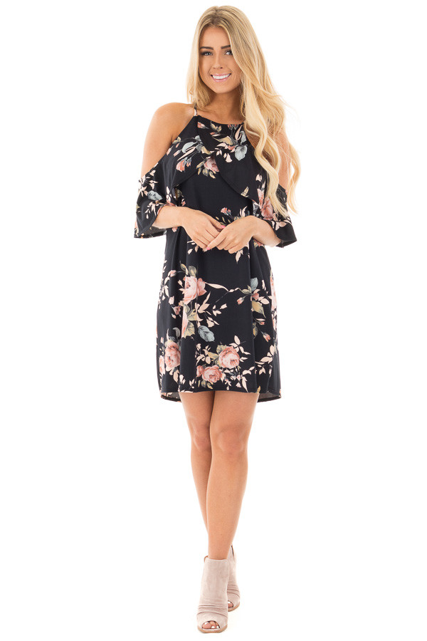 Black Soft Knit Cold Shoulder Dress with Blush Floral Print front full body