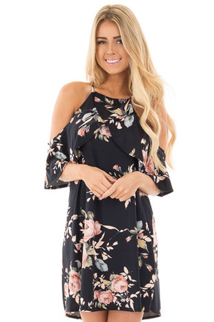 Black Soft Knit Cold Shoulder Dress with Blush Floral Print front close up