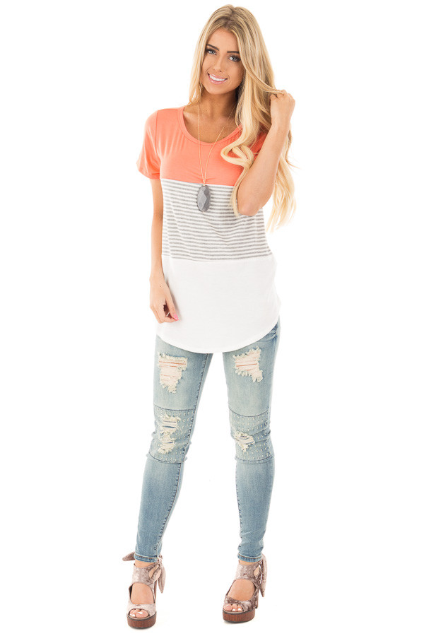 Coral and White Color Block Top with Grey Striped Detail front full body