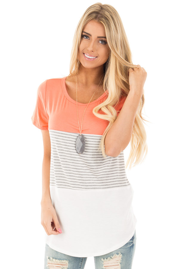 Coral and White Color Block Top with Grey Striped Detail front close up