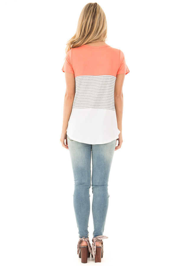 Coral and White Color Block Top with Grey Striped Detail back full body