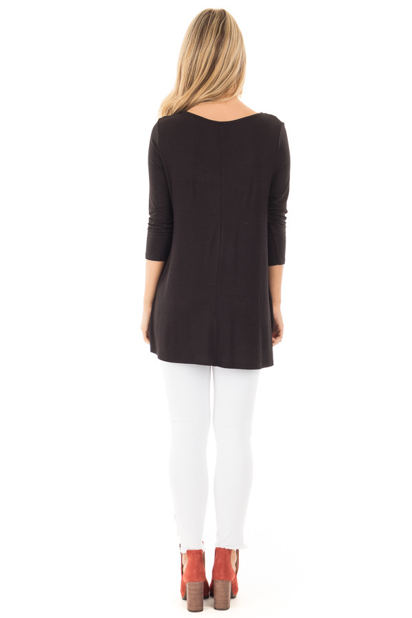 Black 3/4 Length Sleeves with Caged Neckline Detail Top back full body