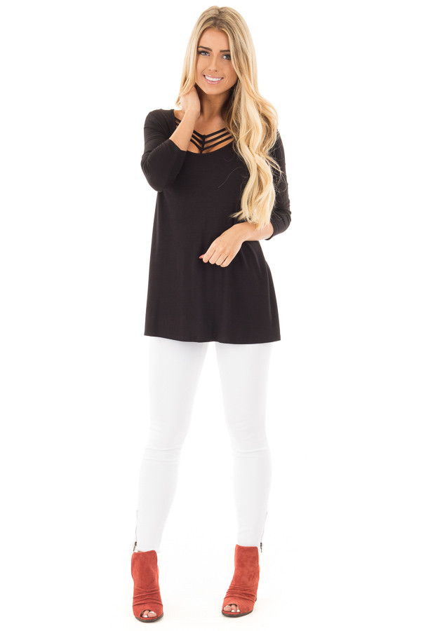 Black 3/4 Length Sleeves with Caged Neckline Detail Top front full body