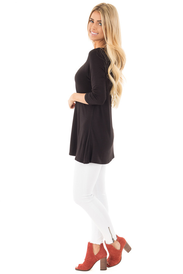 Black 3/4 Length Sleeves with Caged Neckline Detail Top side full body