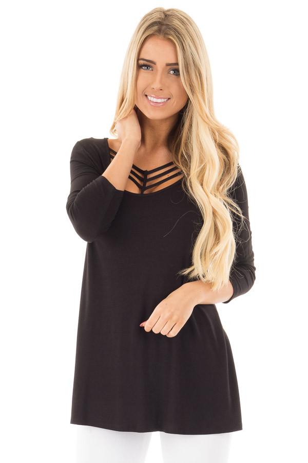Black 3/4 Length Sleeves with Caged Neckline Detail Top front close up