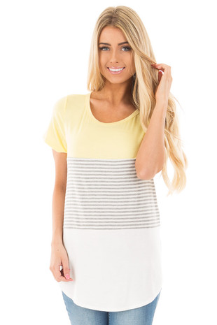 Yellow and White Color Block Top with Grey Striped Detail front close up