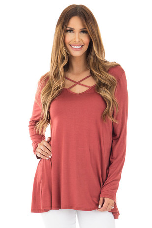 Marsala Long Sleeve Top with Criss Cross Detail front close up