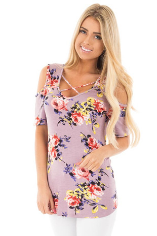 Lavender Floral Cold Shoulder Top with Criss Cross Neckline front close up