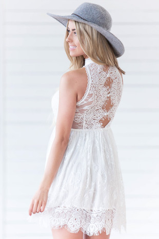 White Floral Lace Halter Sleeveless Top Dress back close up