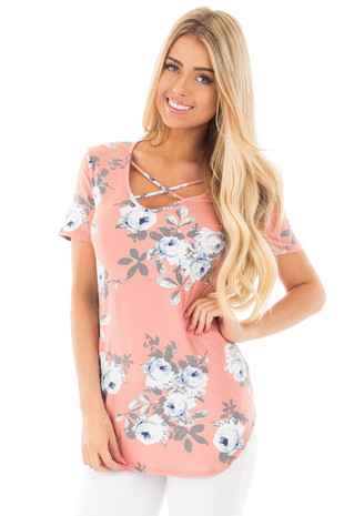 Salmon Super Soft Floral Tee with Criss Cross Neckline front close up