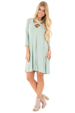 Mint Knit Dress with Criss Cross Neckline and Side Pockets front full body