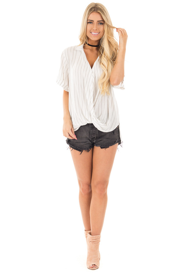 Ivory and Charcoal Striped Fold Over V Neck Top front full body