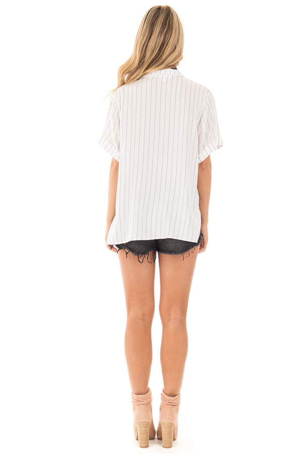 Ivory and Charcoal Striped Fold Over V Neck Top back full body