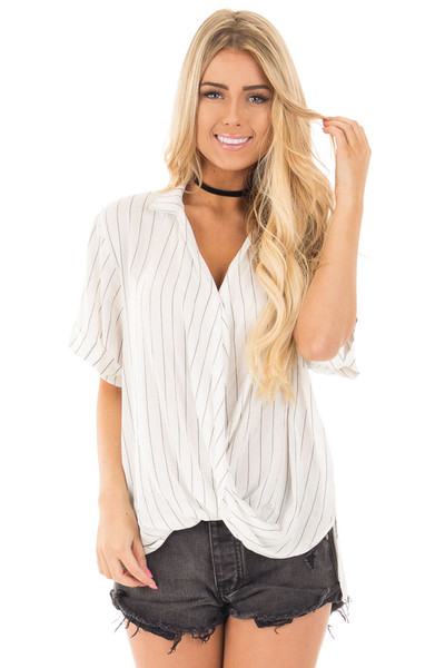 Ivory and Charcoal Striped Fold Over V Neck Top front close up
