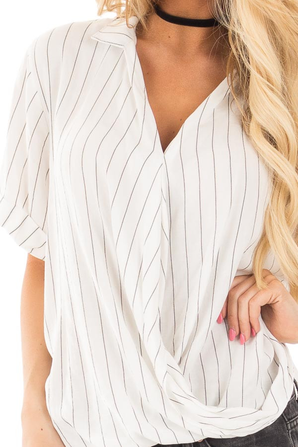 Ivory and Charcoal Striped Fold Over V Neck Top detail