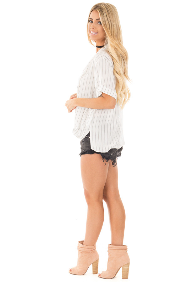 Ivory and Charcoal Striped Fold Over V Neck Top side full body