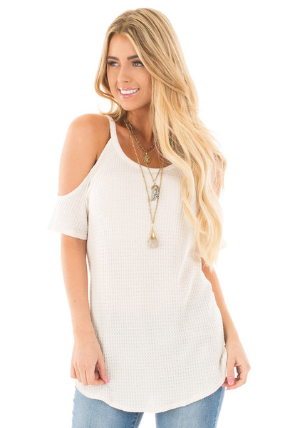 Ivory Waffle Knit Cold Shoulder Top front close up